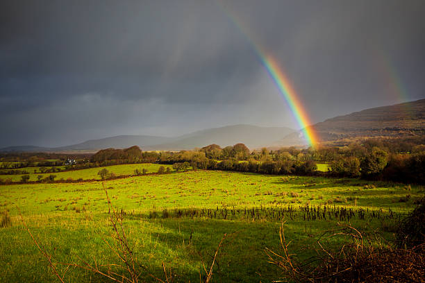 Beautiful Colours Of A Rainbow In The Irish Countryside stock photo