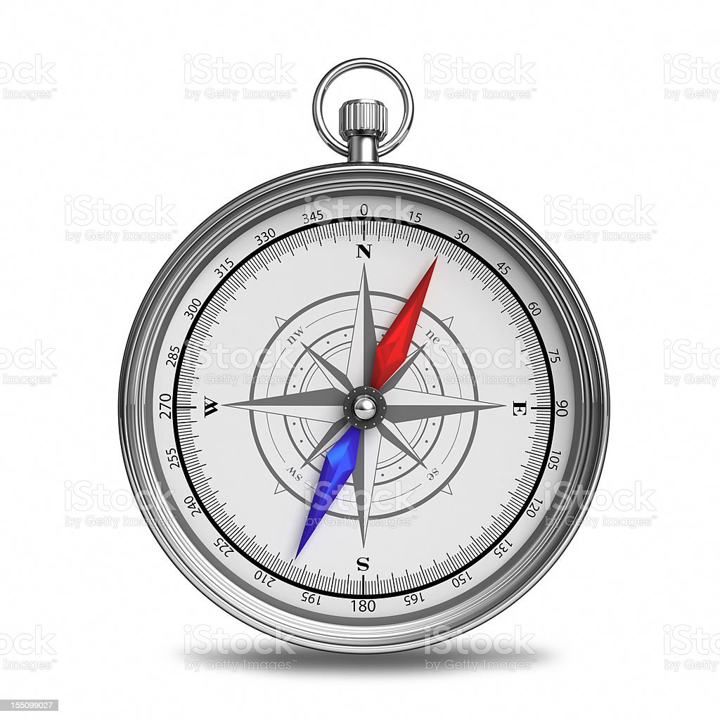 A beautiful compass with red and blue directional pointers royalty-free stock photo