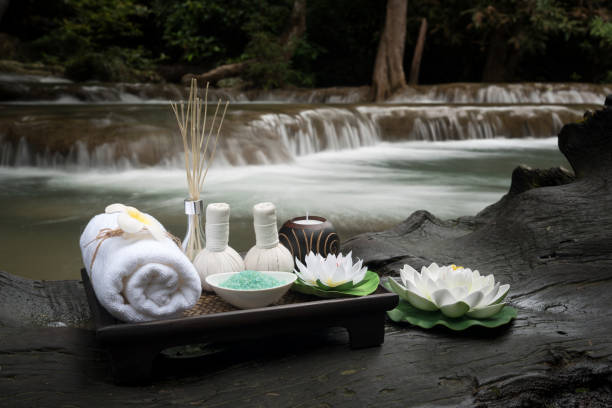 beautiful composition of spa accessories - thai massage stock photos and pictures