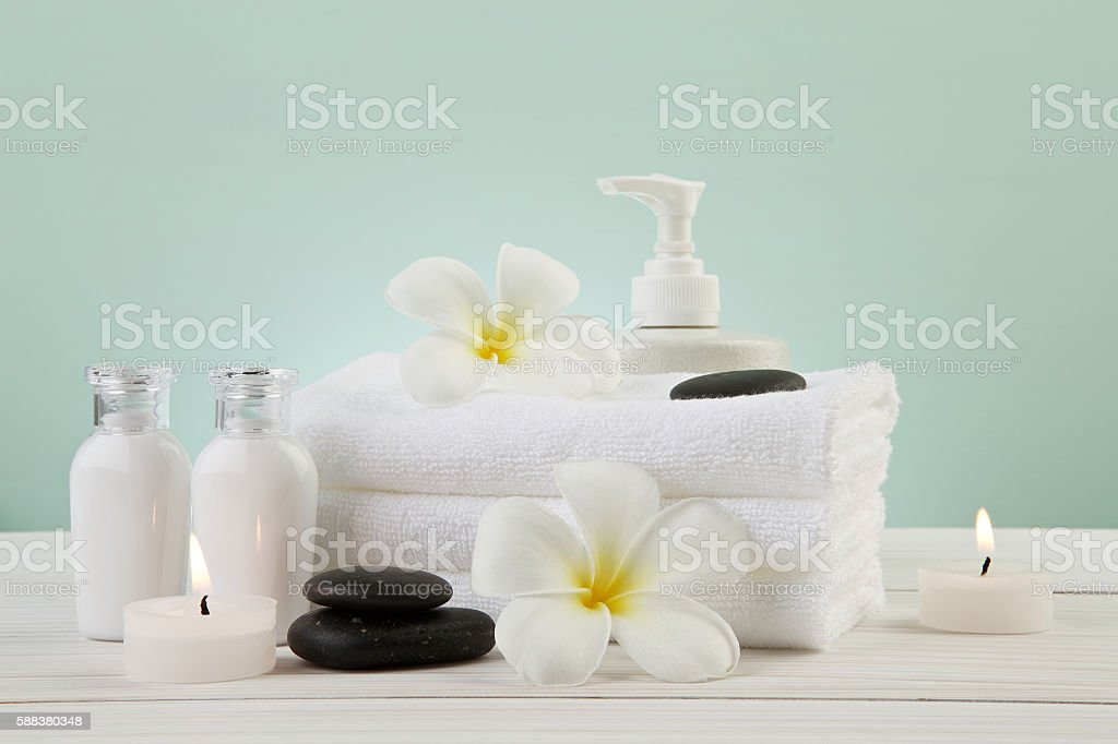 beautiful composition of spa treatment setting concept on light stock photo