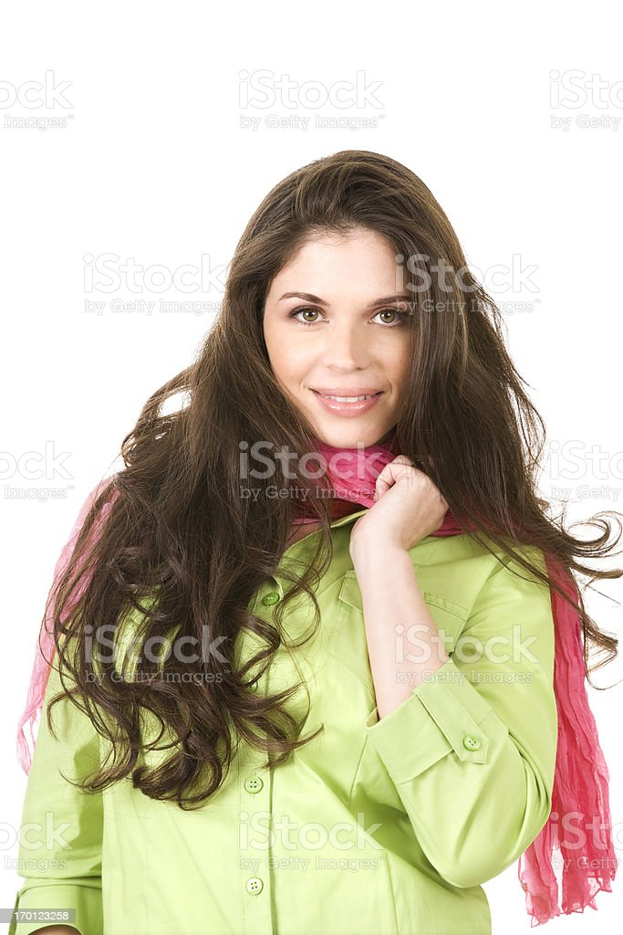 Beautiful confident business woman Hispanic brunette hair isolated green pink royalty-free stock photo