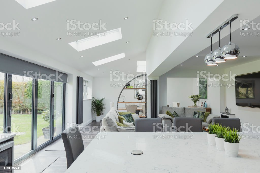 Beautiful Contemporary Kitchen And Living Room stock photo
