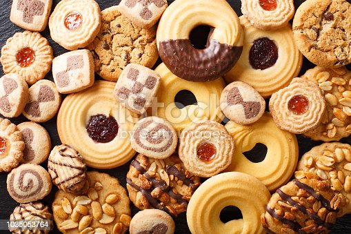 istock Beautiful cookies assorted close-up. background horizontal top view 1035053764