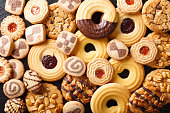 Beautiful cookies assorted close-up. background horizontal top view
