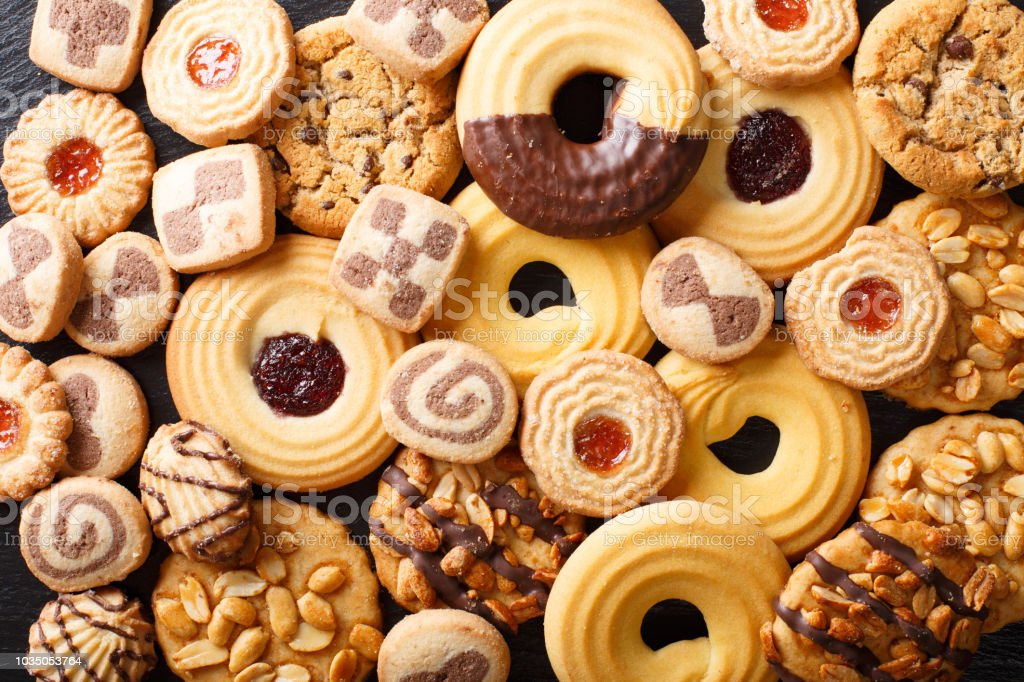 Beautiful cookies assorted close-up. background horizontal top view stock photo