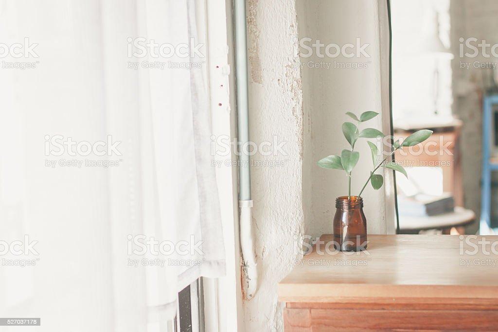 beautiful corner in minimal cafe stock photo