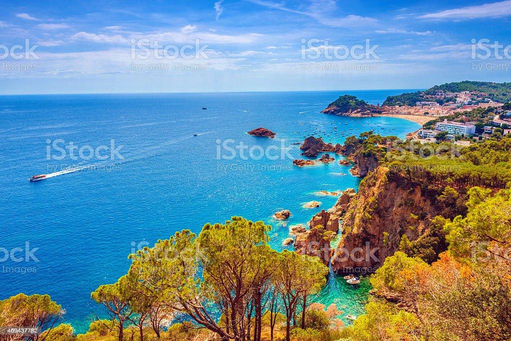 Beautiful Costa Brava Coastline and Tossa Del Mar stock photo