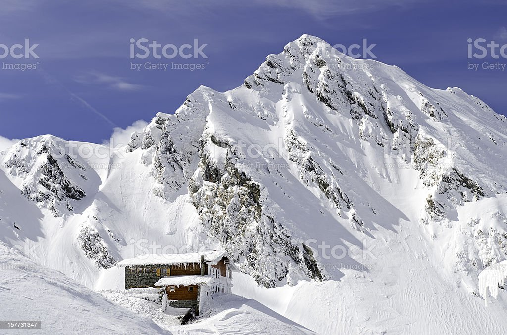 beautiful cottage in mountains royalty-free stock photo