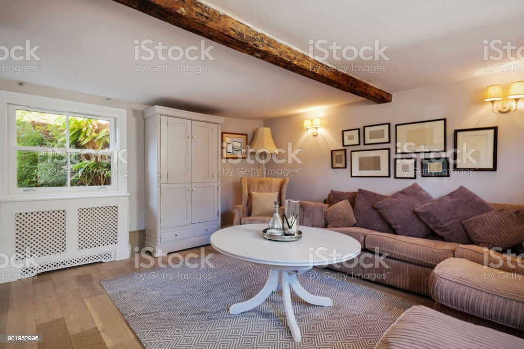 Beautiful Cottage living room stock photo