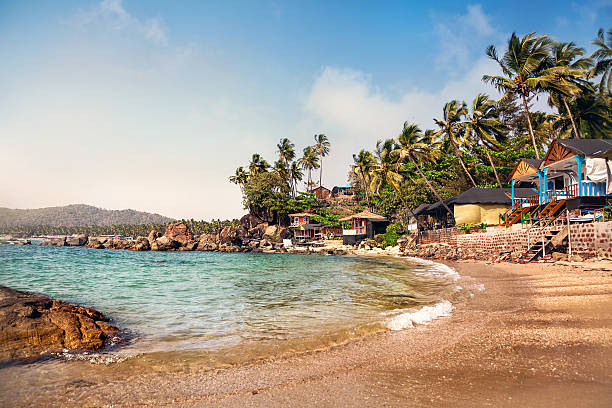 Beautiful cottages at Goa beach stock photo