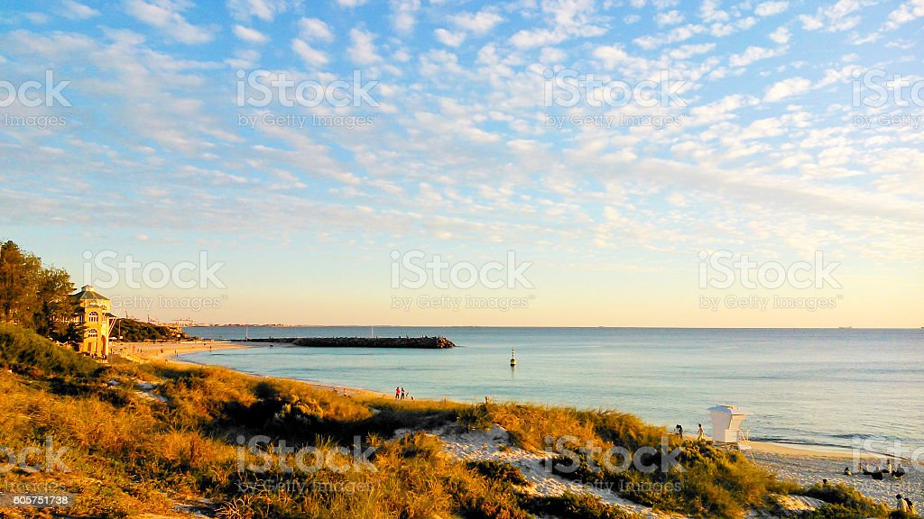Beautiful Cottesloe beach and cloudscape at sunset stock photo