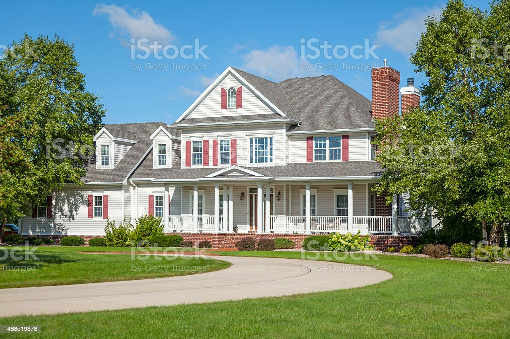 Beautiful country mansion home with circular drive stock photo
