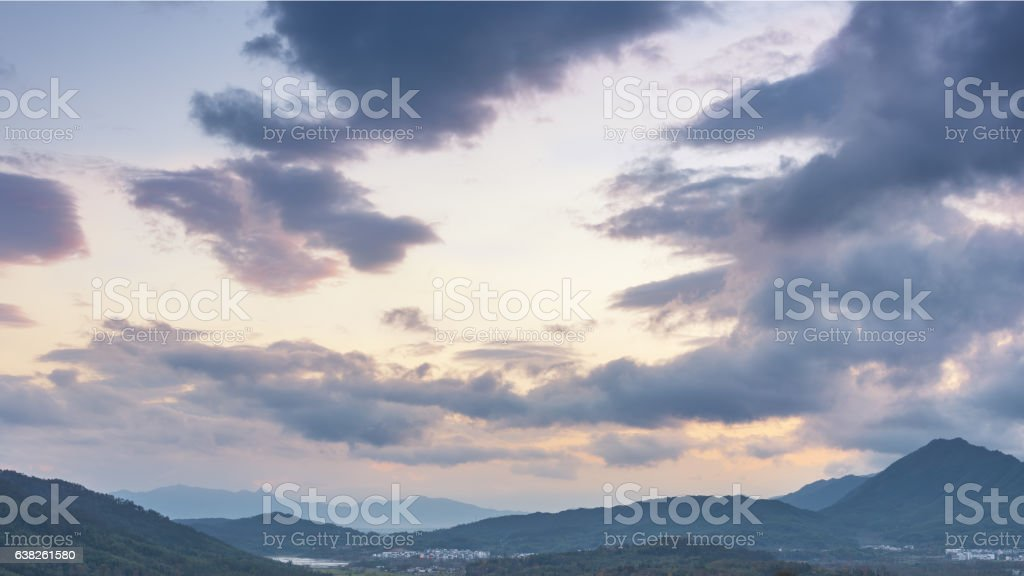 Beautiful countryside at sunset stock photo
