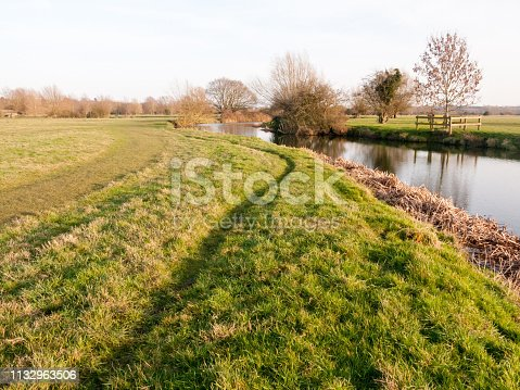 Beautiful countryside Dedham water scene outside nature landscape space; essex; england; uk