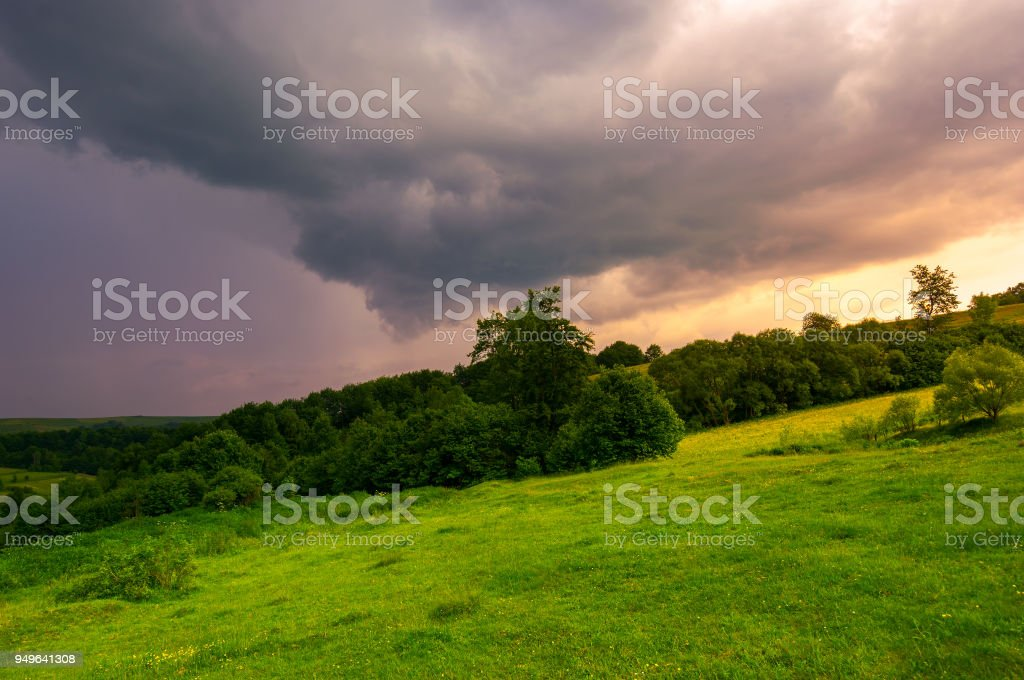 beautiful countryside on a cloudy sunset stock photo