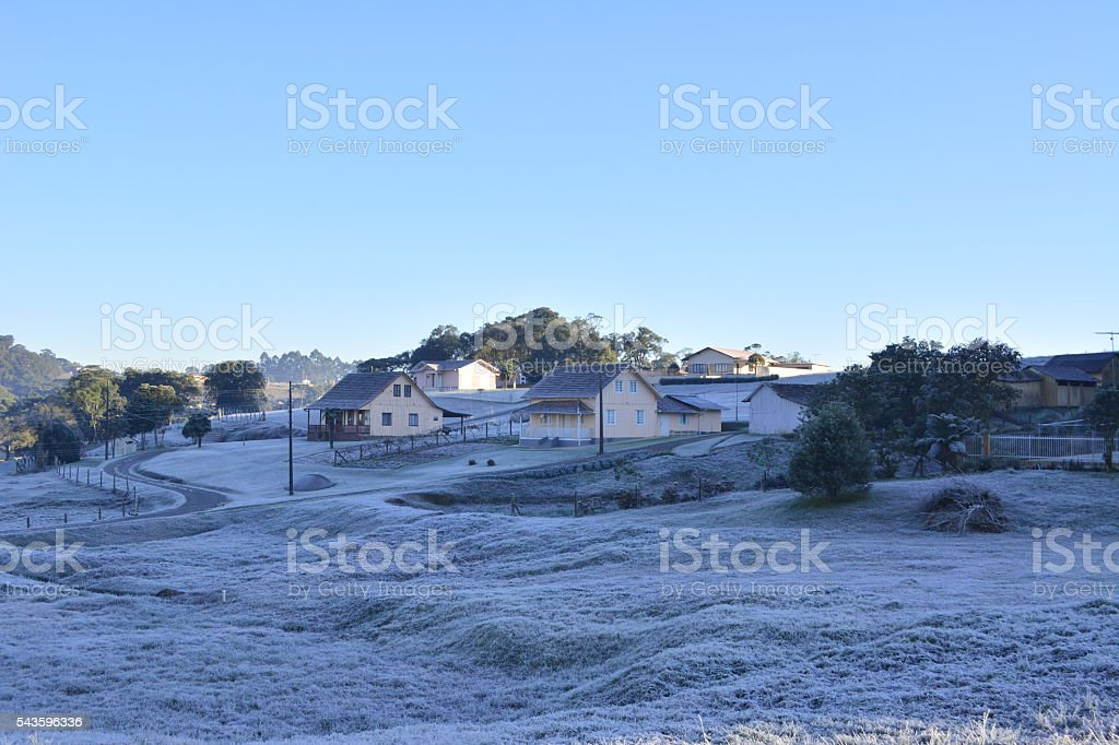 Beautiful countryside with frost stock photo