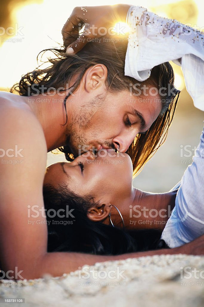 Beautiful Couple at Sunset stock photo