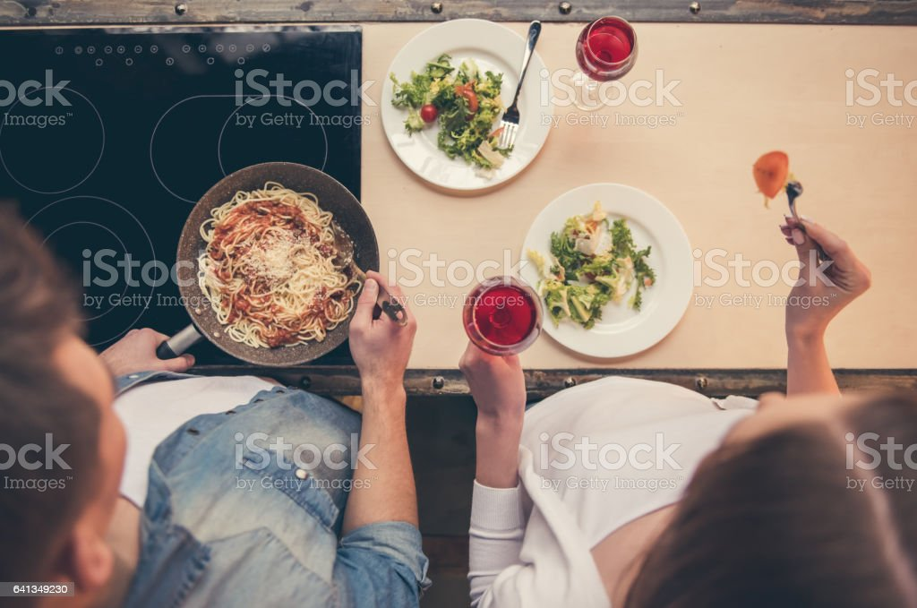 Beautiful couple cooking royalty-free stock photo