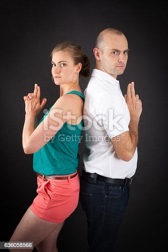 istock Beautiful couple doing different expressions in different 636058566