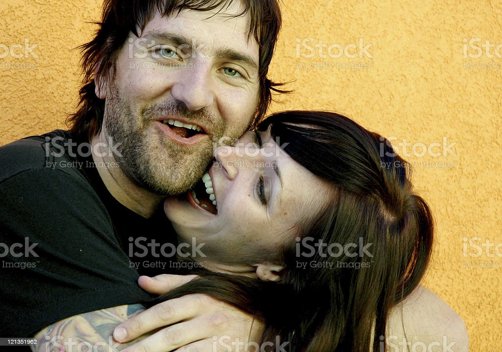 Beautiful Couple Embracing with Happiness royalty-free stock photo