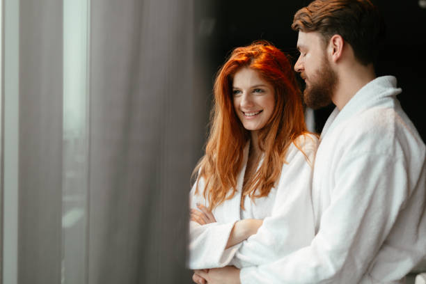 beautiful couple enhoying wellness weekend - spa belgium stock photos and pictures