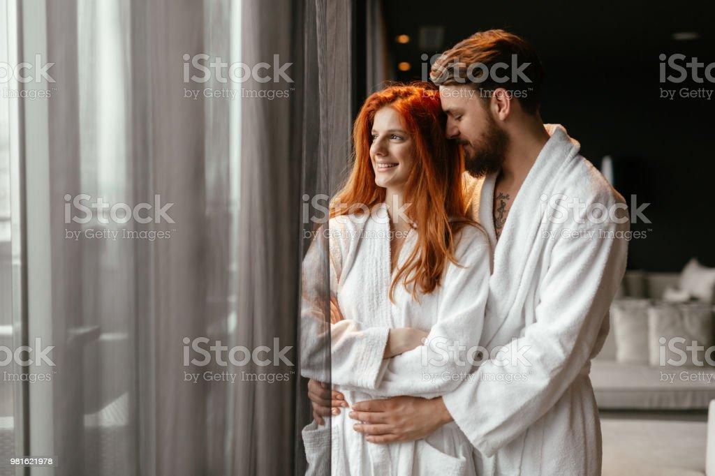 Beautiful couple enhoying wellness weekend stock photo