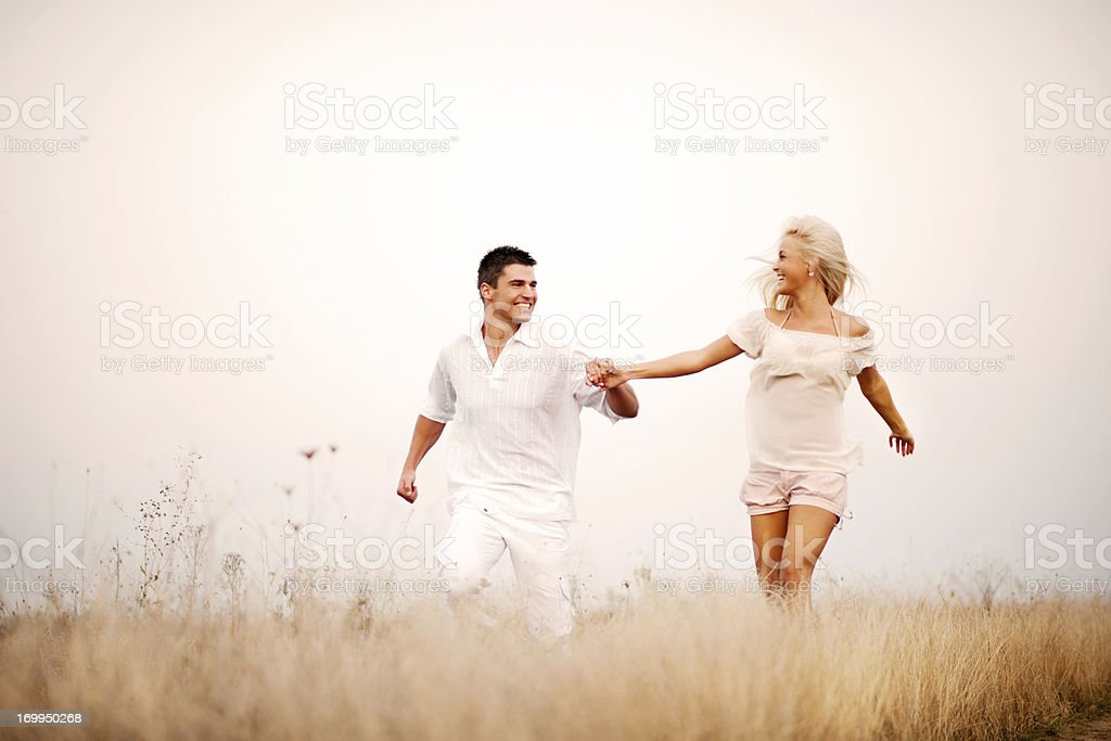 Beautiful couple enjoying in the nature. royalty-free stock photo