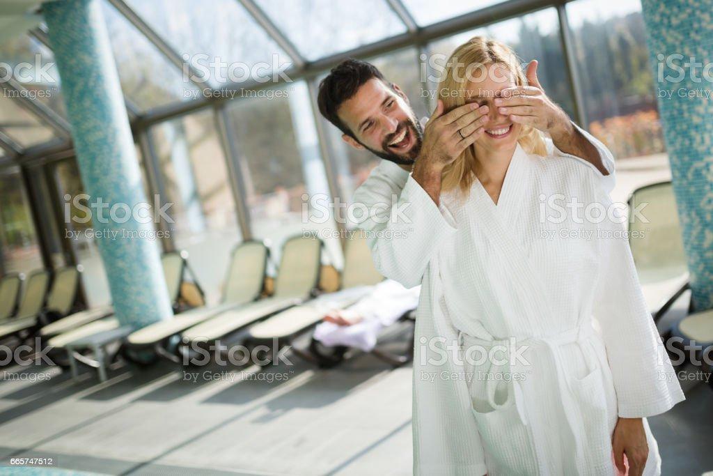 Beautiful couple enjoying spa wellness treatments ストックフォト