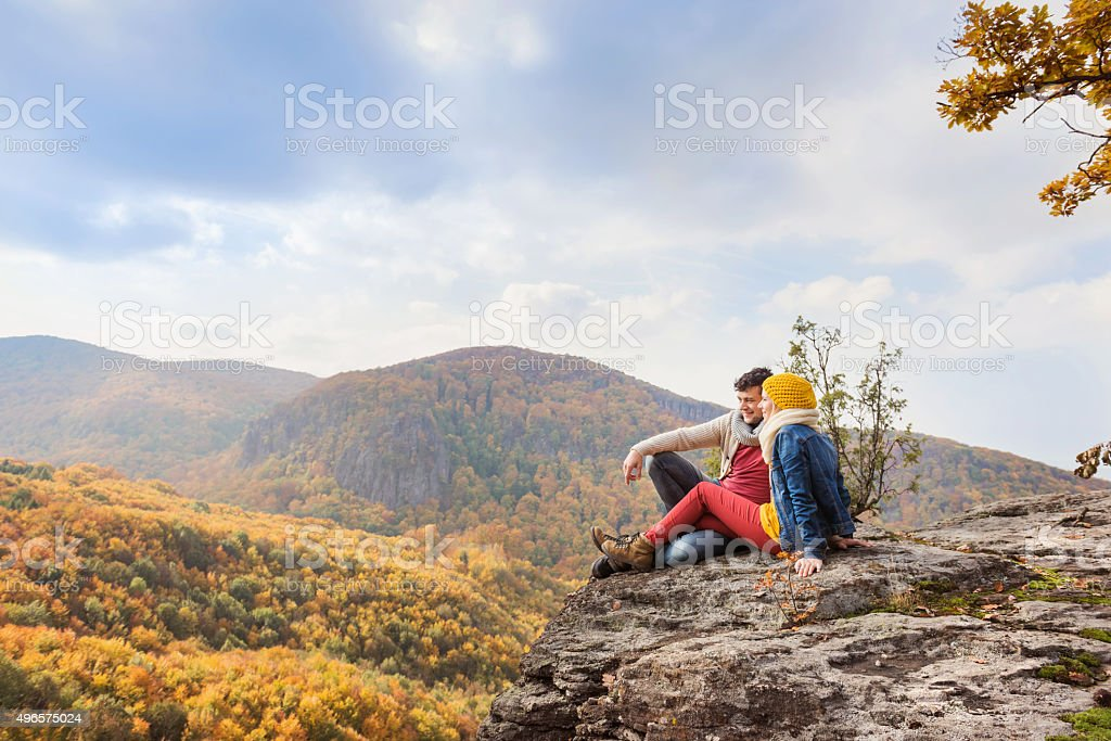 Beautiful couple in autumn nature stock photo