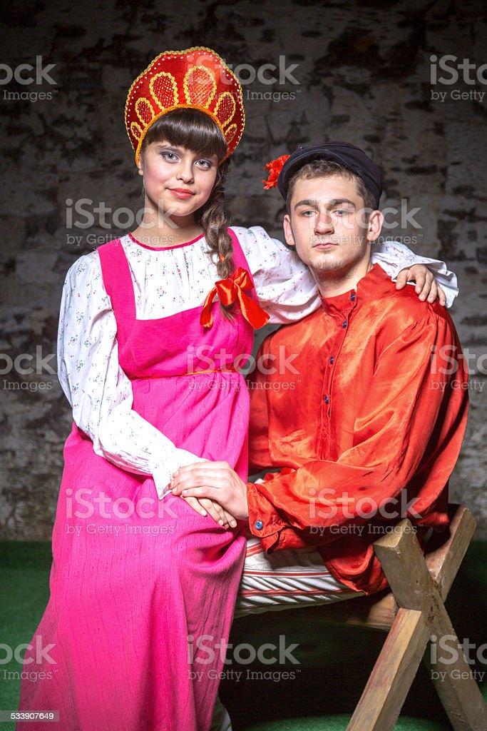 Schone Paar In Russische Folklore Kleidung Stock Fotografie Und Mehr