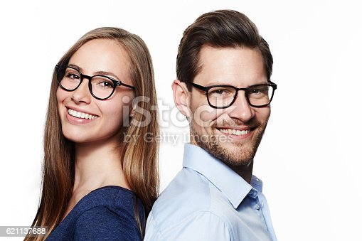 istock Beautiful couple in spectacles, portrait 621137688