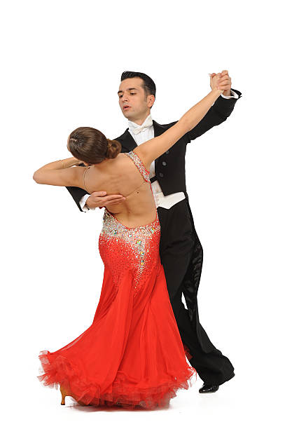 beautiful couple in the active ballroom dance stock photo