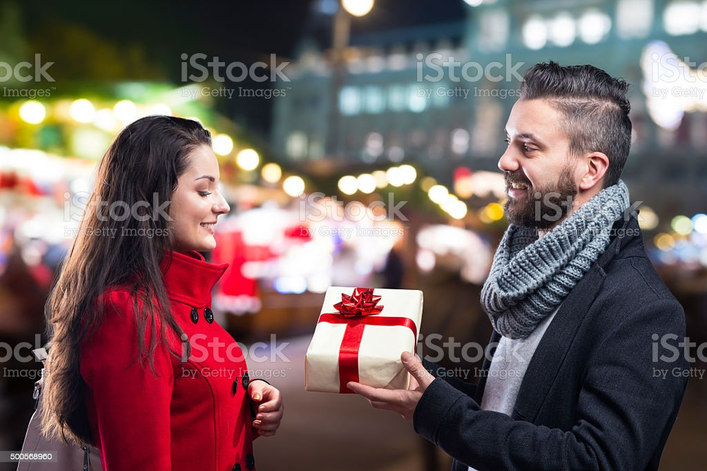 Beautiful couple in the city royalty-free stock photo