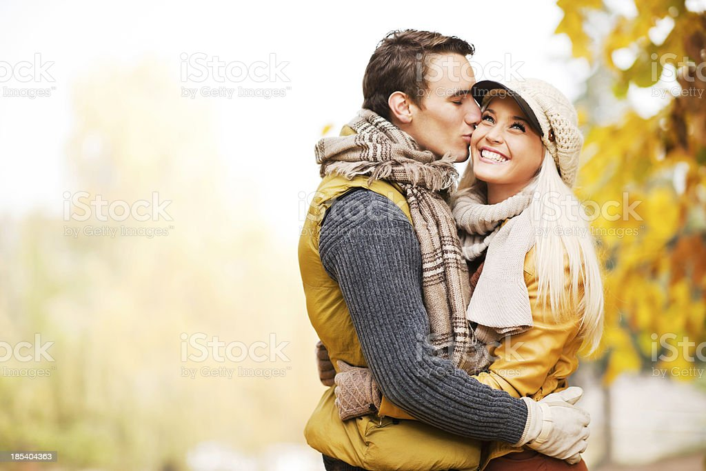 Beautiful couple in the park. stock photo
