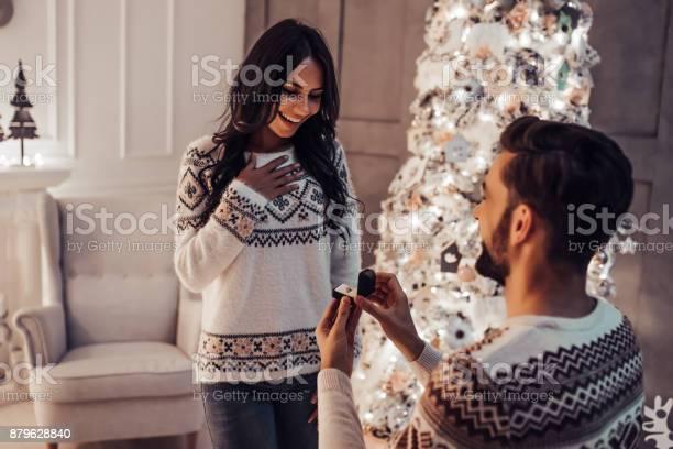Mooie Paar Is Wachten Op Het Nieuwe Jaar Samen In De Buurt Van Mooie Kerstboom Thuis Stockfoto en meer beelden van Boom