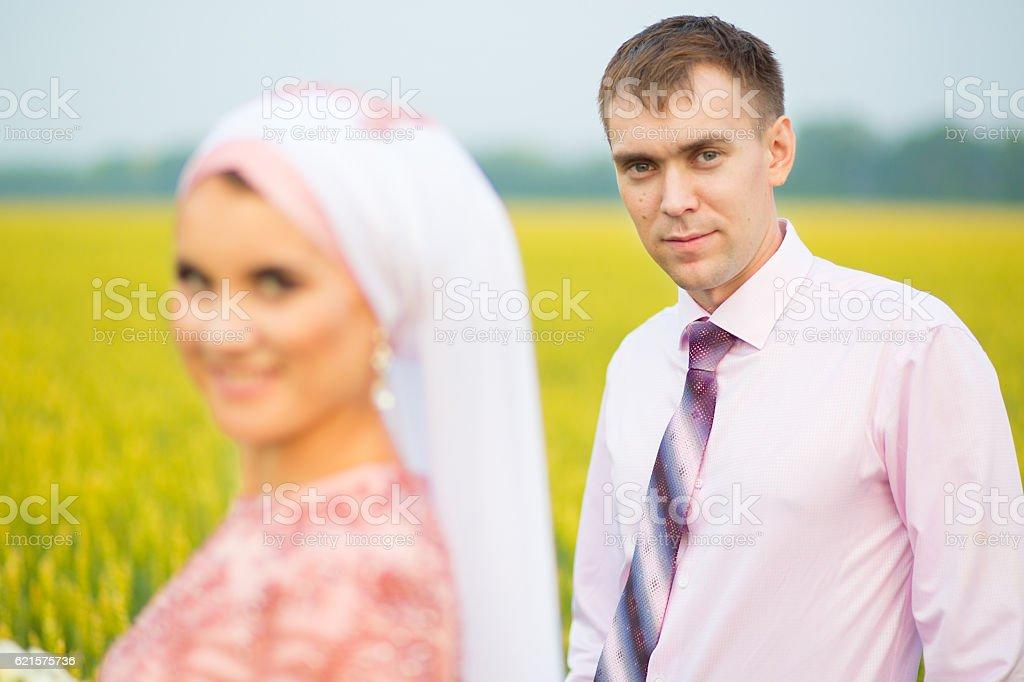 Beautiful couple just married. Muslim marriage. photo libre de droits