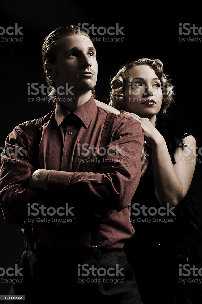 beautiful couple looking up royalty-free stock photo