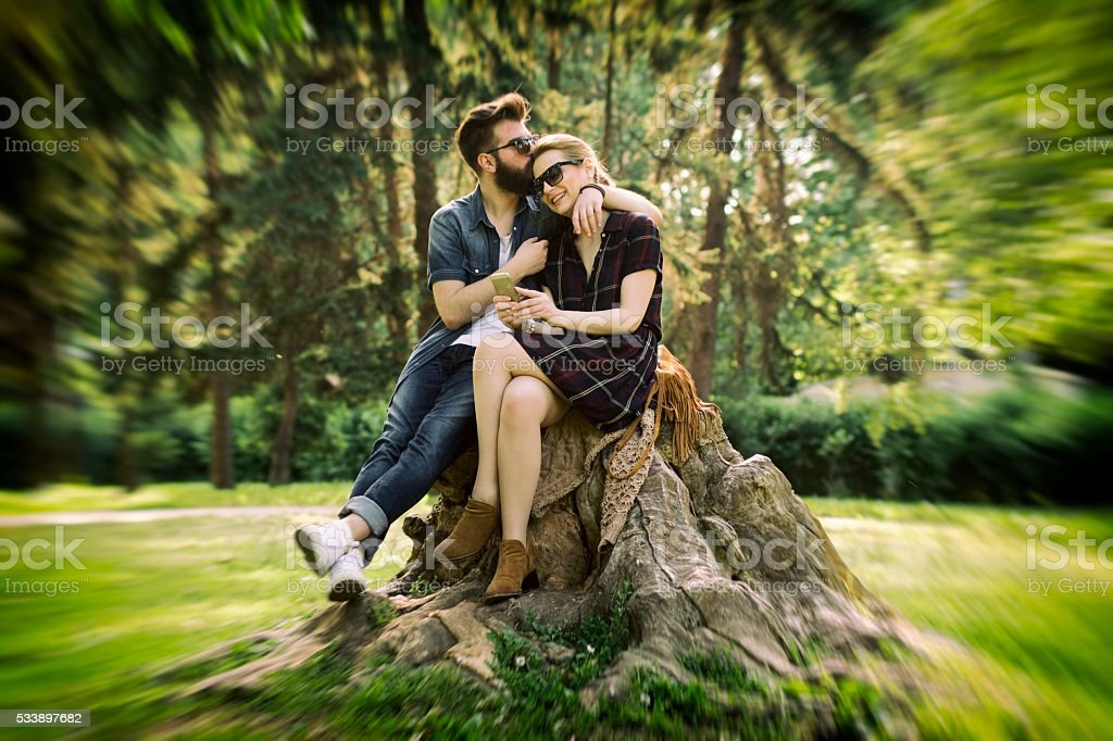 Beautiful Couple Loving Each Other In Nature On Sunny Day Royalty Free Stock Photo
