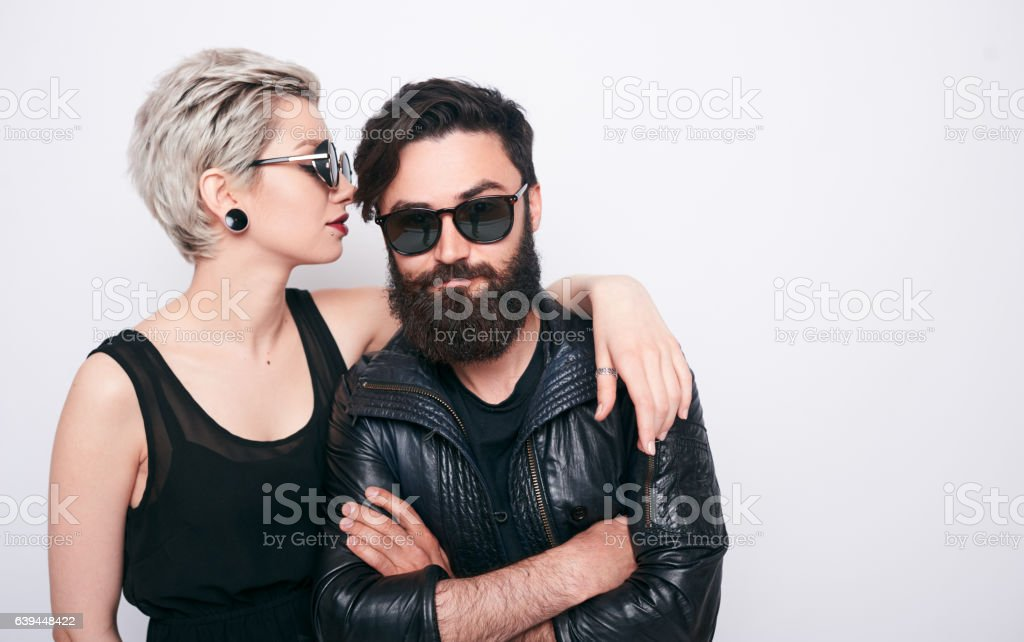 beautiful couple of bearded man and blond young woman stock photo