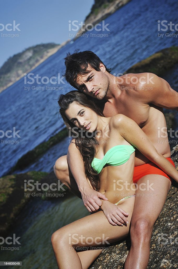 Beautiful couple on the beach royalty-free stock photo