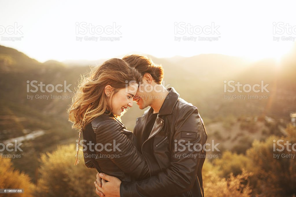 Beautiful couple with nature stock photo