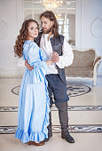 istock Beautiful couple woman and man in medieval clothes 486466762