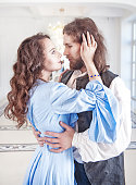 istock Beautiful couple woman and man in medieval clothes 487060586