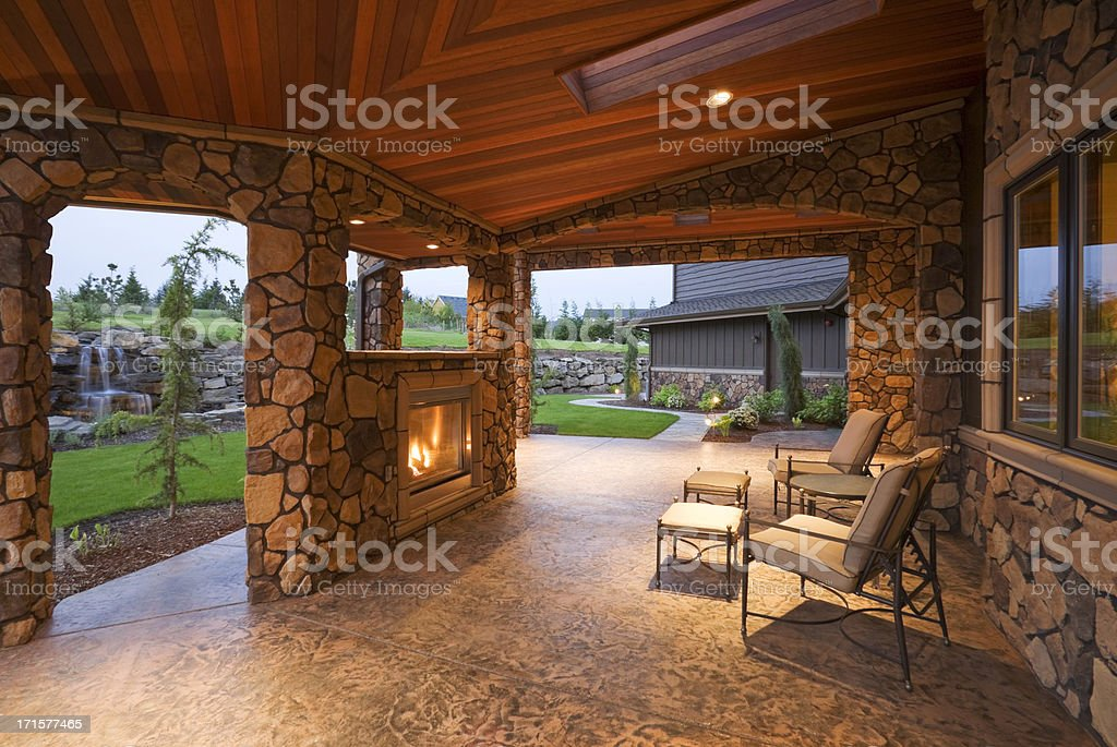 Beautiful Covered Patio stock photo