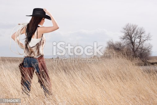 Beautiful cowgirl outdoors wearing cowboy hat.
