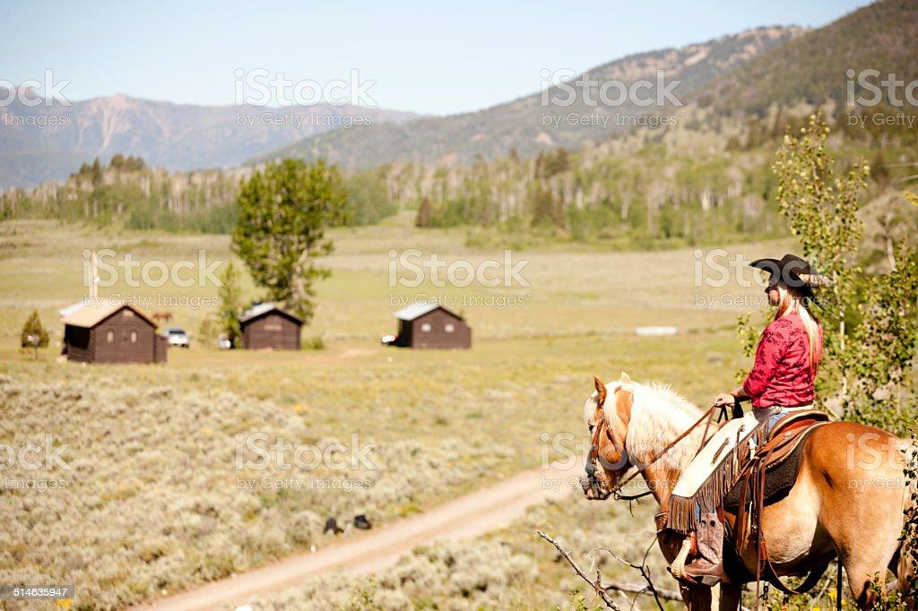 Beautiful cowgirl, Montana stock photo