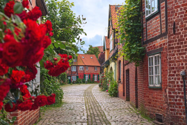 Beautiful cozy street of the old town. Beautiful cozy street of the old town of Luneburg in Germany. A street in a small German city, cozy apartment houses, lots of greenery, flowers, cobblestone pavement. Quiet and calm town. lüneburg stock pictures, royalty-free photos & images