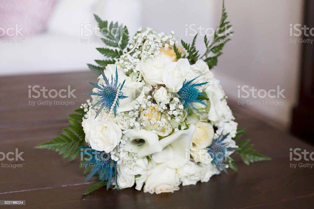 Beautiful Cream And Blue Wedding Bouquet Royalty Free Stock Photo