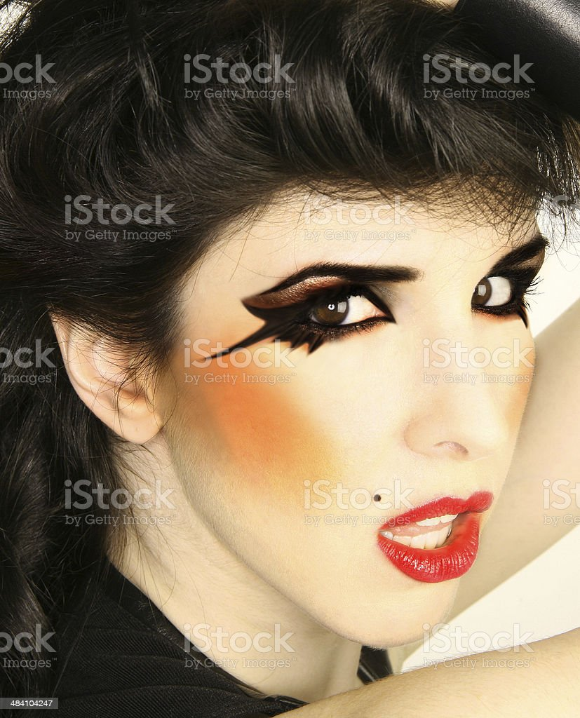 Beautiful Creative Makeup High Fashion Rock and Roll stock photo