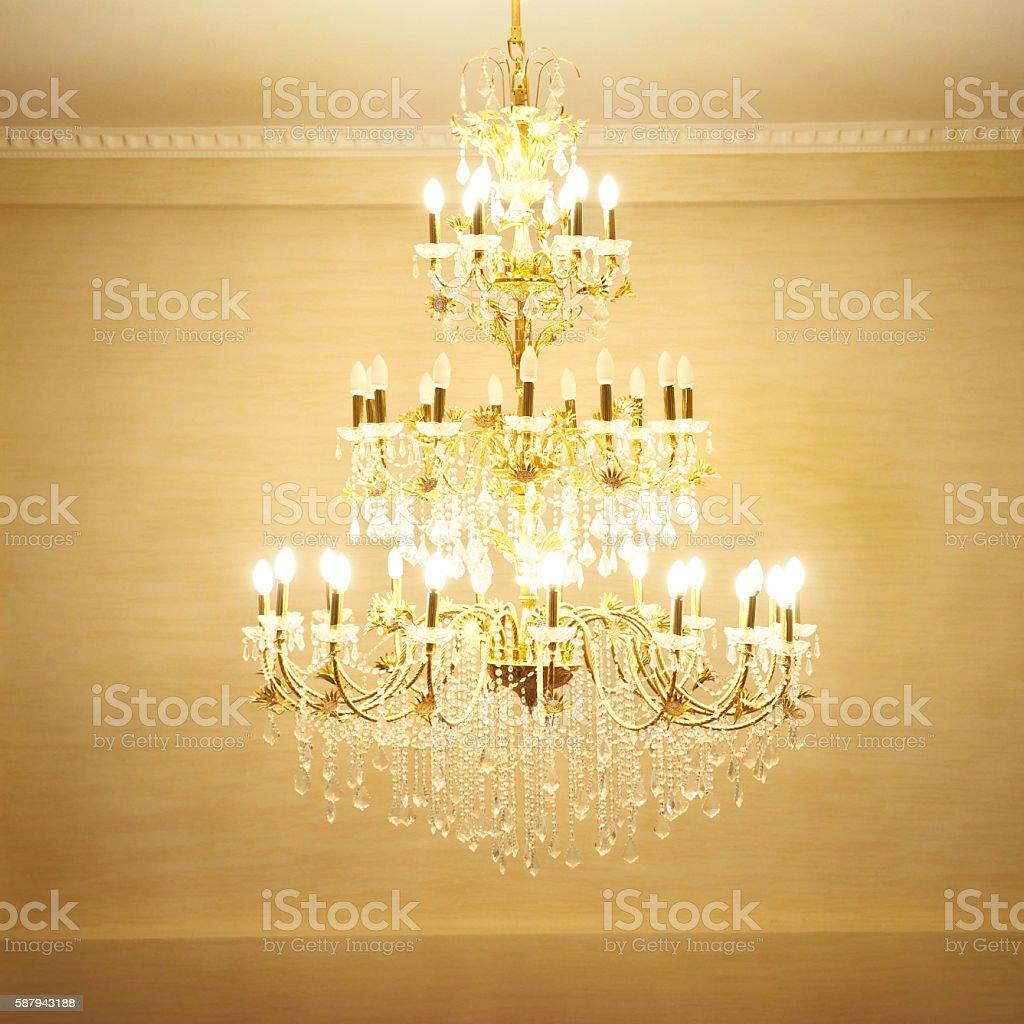 Beautiful crystal chandelier stock photo